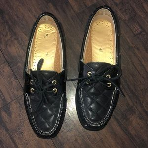 Black Quilted Sperry Boat Shoes